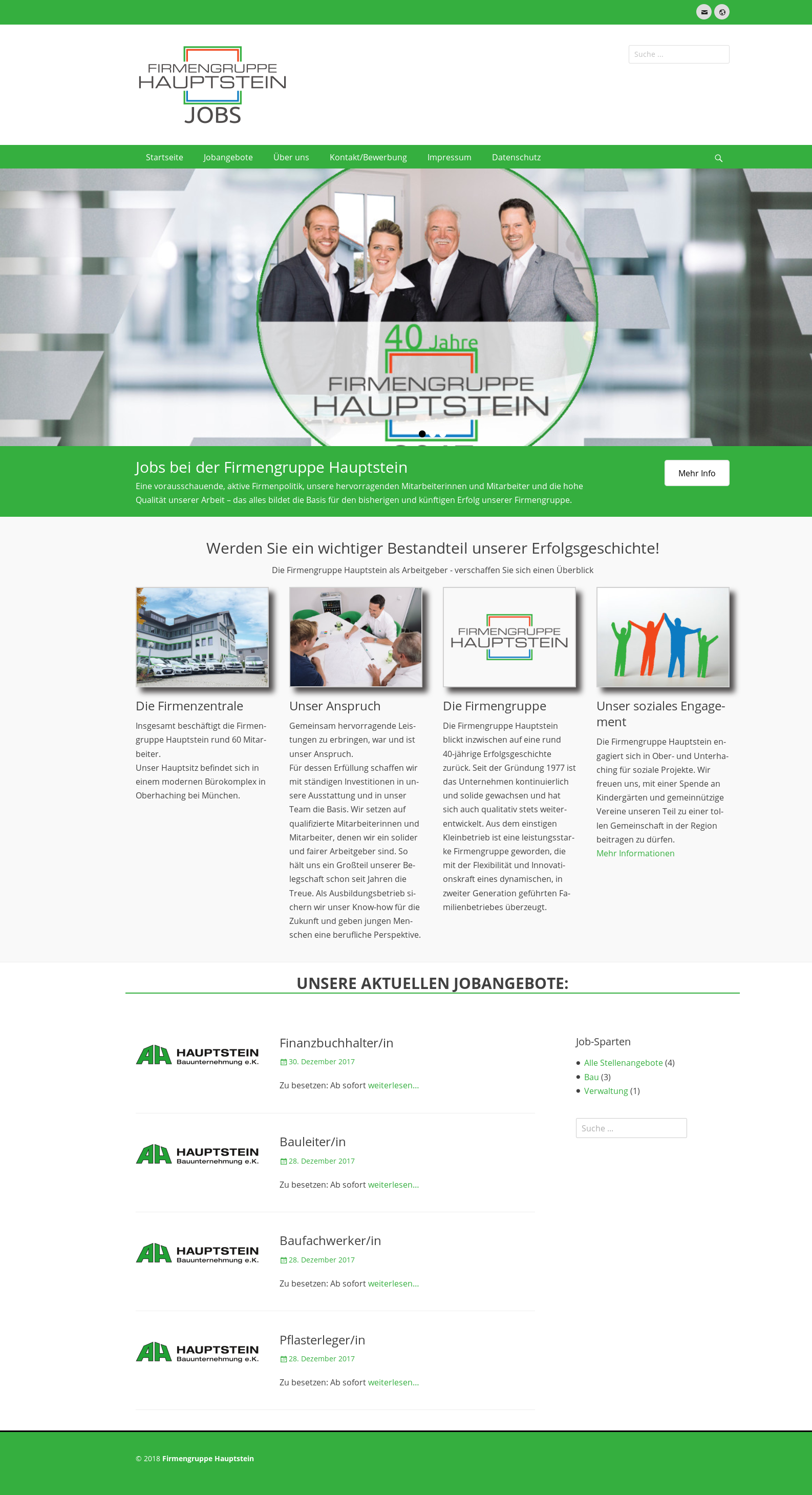 screenshot der Website jobs.hauptstein.de