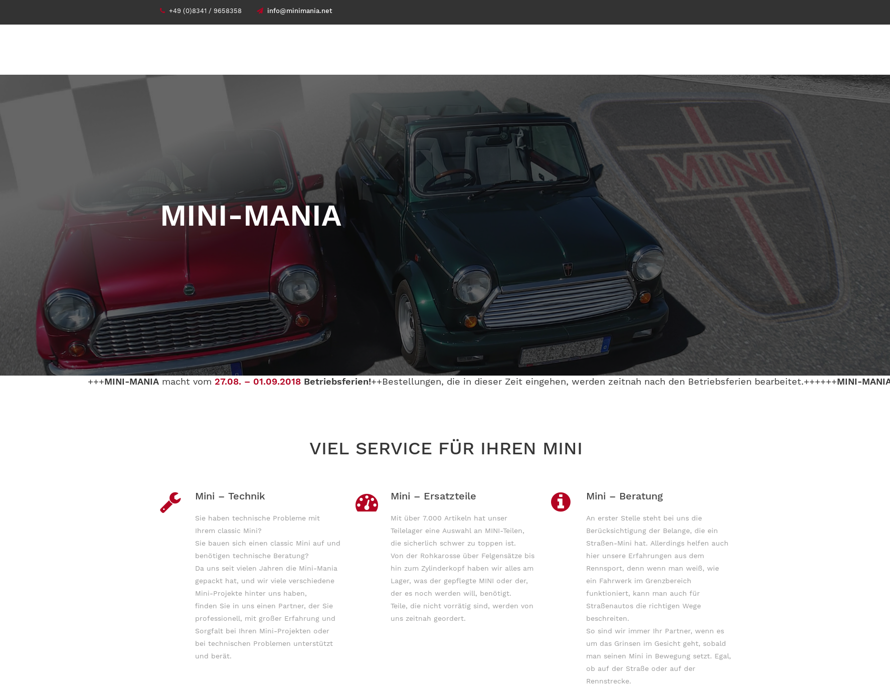 screenshot der Website minimania.net