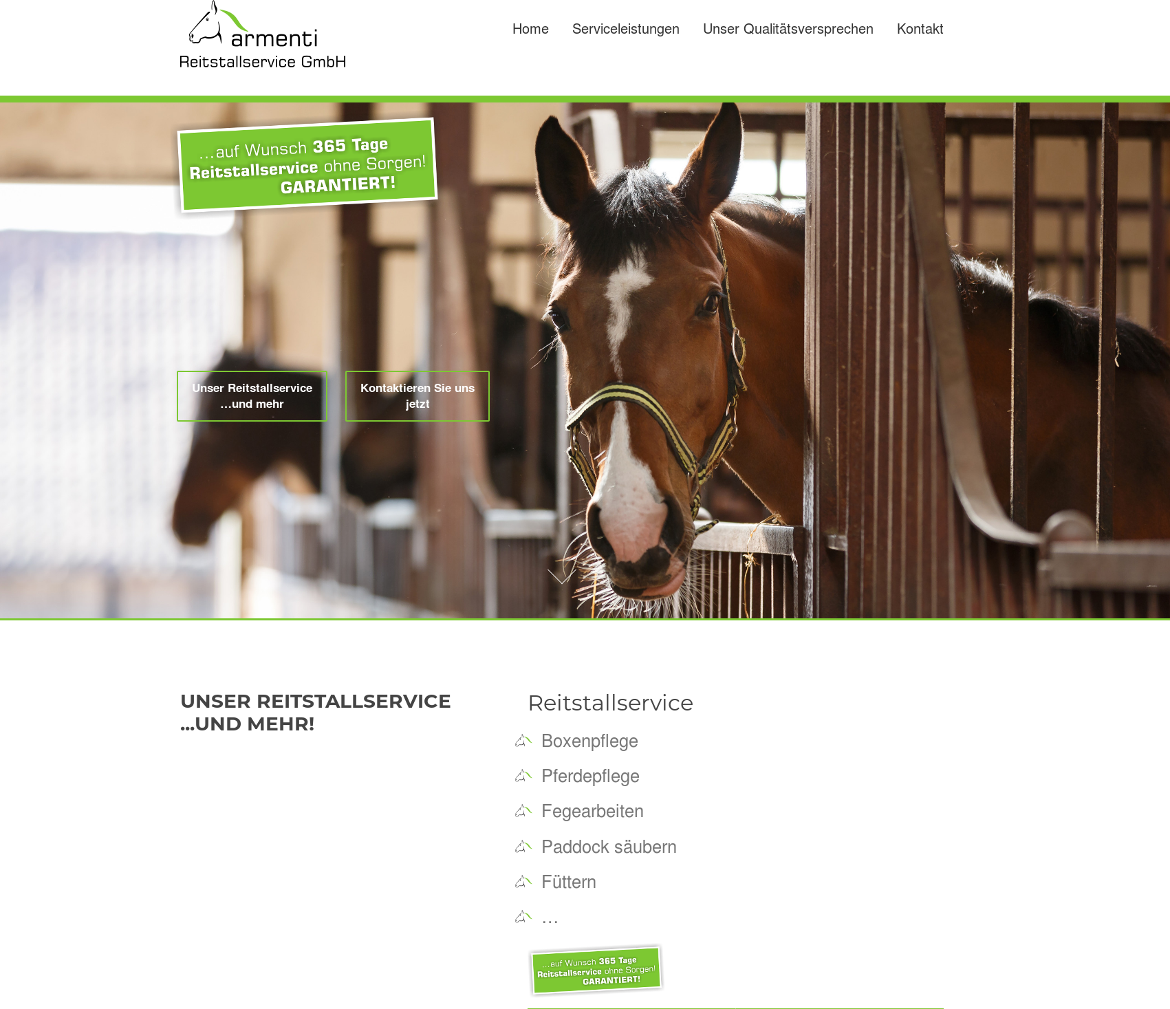 screenshot der Website reitstallservice.de